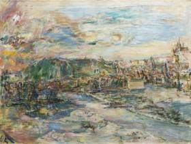 Oskar Kokoschka: Praha (Pohled z ateliéru na Petřín), 1936/37,  olej na plátně, 94 x 125 cm, cena: 52 080 000 Kč, Arthouse Hejtmánek 1. 6. 2017