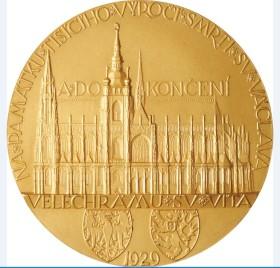 Zlatá medaile vydaná v roce 1929 u příležitosti dokončení katedrály sv. Víta.