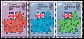 Poštovní známky vydané ke vstupu Velké Británie do EU.