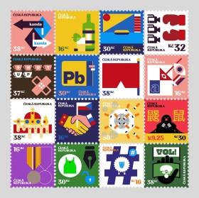 Poštovní známky komentující výsledek prezidentské volby od Pavla Fuksy.
