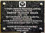 Pamětní deska v Banské Štiavnici