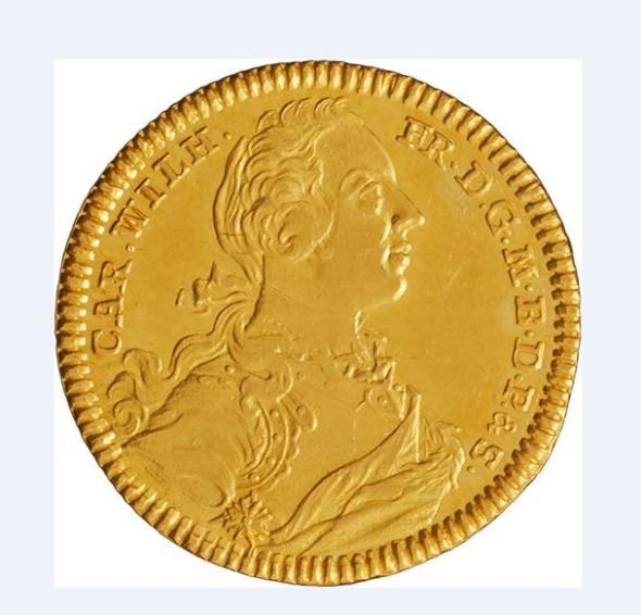 Cena mince 1 Dukát Brandenburg-Ansbach, Karl Wilhem Friedrich (1729-1757) bude začínat na 2 000 EUR.