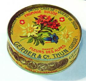 Vzácná plechová krabička firmy Gerber, která vynalezla tavené sýry.