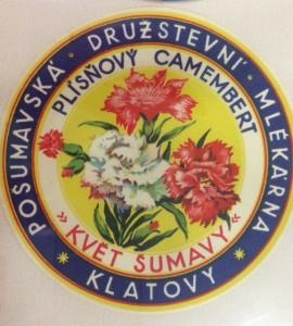Stará etiketa mlékárny Klatovy.