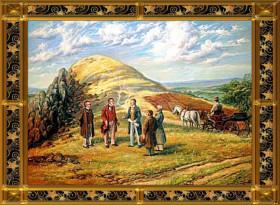 Disputace na Komorní hůrce roku 1822. Zleva J. W. Goethe, který byl na straně neptunistů, Kašpar hrabě Šternberk, přikláněl se k plutonistům, J. Berzelius, plutonista, J. S. Grüner, policejní rada Chebu, J. E. Pohl, botanik a lékař