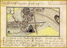 Mapa štol pod Komorní hůrkou, jak bylo plánováno.