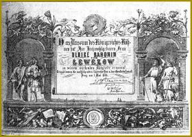 Slavnostní potvrzení o udělení členství Baronce Ulrice von Levetzow ve Vlastivědném museu z 1. května 1868.