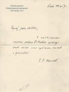 Jeden z mnoha podpisů T. G. Masaryka